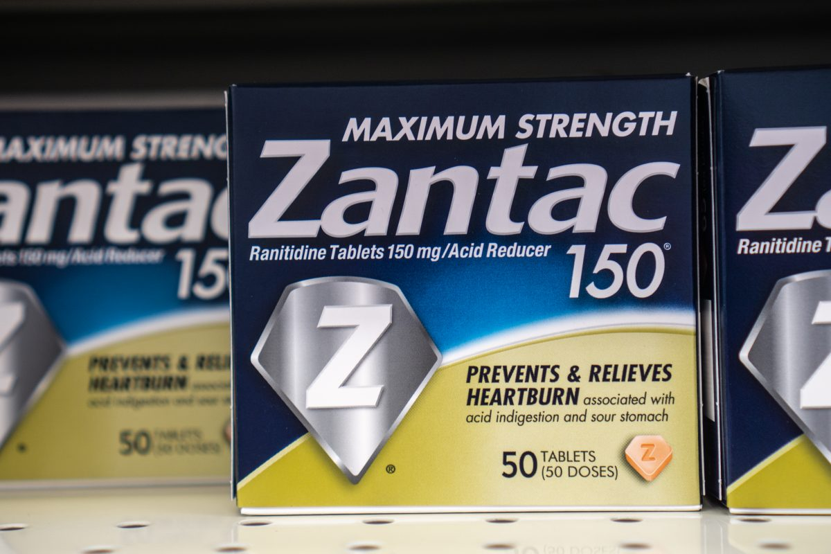A package of the over-the-counter version of Zantac sits on a pharmacy shelf.